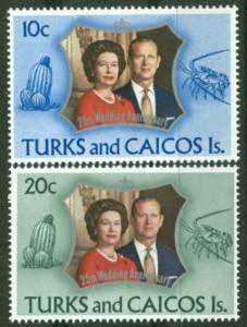 Turks & Caicos # 257-58 QE II Silver Wedding (2) Mint NH