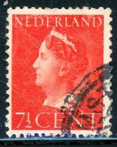Netherlands #217 Queen Wilhelmina 7 1/2c brt red 1940 used crease on stamp