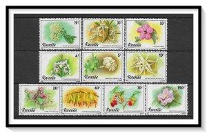 Rwanda #1009-1018 Flowers Set MNH