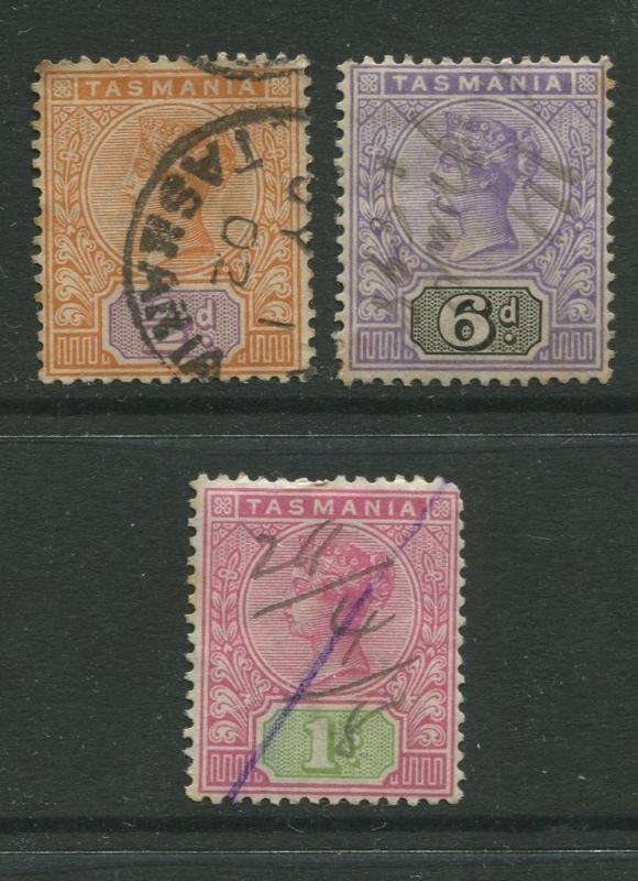Tasmnia  #76,79,81  FU  1892 3 Single Stamps