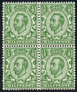 Spec N4 (7) 1/2d Downey Die 2 Bright Yellow Green U/M Block of Four