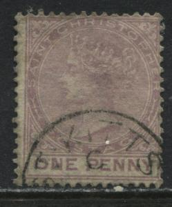 St. Christopher QV 1882 1d lilac rose used