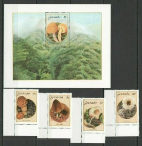 U0710 1992 GRENADA FLORA MUSHROOMS #1491-94 MICHEL 29 EURO 1SET+1BL FIX