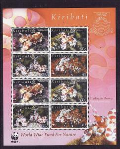 Kiribati-Sc#878a-Unused NH sheet-WWF-Harlequin Shrimp-Marine Life-2005-
