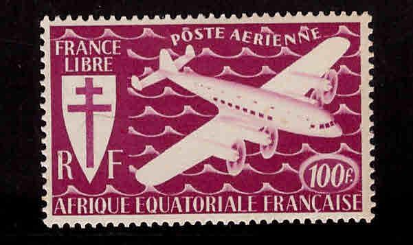 FRENCH EQUATORIAL AFRICA  Scott C23 MH* 100fr airmail stamp