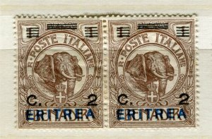 ITALY; ERITREA early 1900s pictorial Elephant type 2c. mint hinged pair