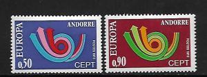 FRENCH ANDORRA, 219-220, MNH, EUROPA '73