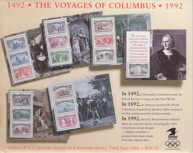 US Sc 2624-2629 MNH. 10 SETS - 1992 Columbus SSs in original USPS Envelopes