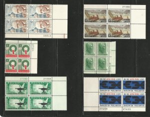USA Stamps #1202,1205,1206,1207,1209,1233 Plate Blocks of 4