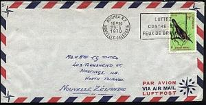 NEW CALEDONIA 1970 airmail cover Noumea to New Zealand - 15f Bird..........20025