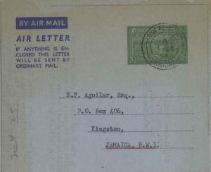 Trinidad 5c KGVI General Post Office and Treasury Air Letter 1954 San Fernand...