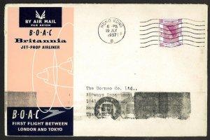HONG KONG BOAC HONG KONG to THAILAND (1957) FIRST FLIGHT COVER