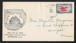 UNITED STATES First Flight Cover 1938 Ransom to Peoria
