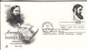 1972, Honoring Sidney Lanier, Artcraft, FDC (D15132)