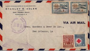 Honduras 1c Morazan and 1c Red Cross Postal Tax and 8c Air Post Official Over...