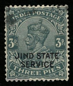 India, JIND STATE SERVICE, 3 Pies, King George V (T-6074)