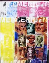 Uzbekistan 2002 Marilyn Monroe #3 imperf sheetlet contain...