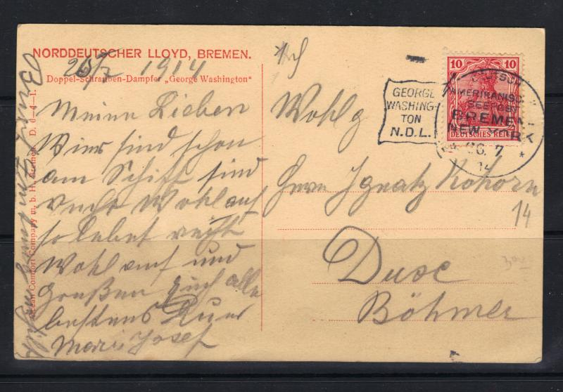 Germany New York 1914 N D L Seepost Ship Mail Picture Postcard F