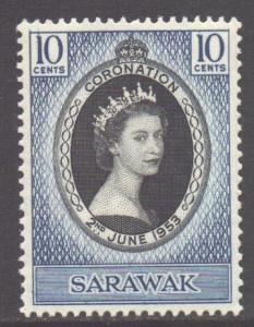 Sarawak Scott 196 - SG187, 1953 Coronation 10c MH*