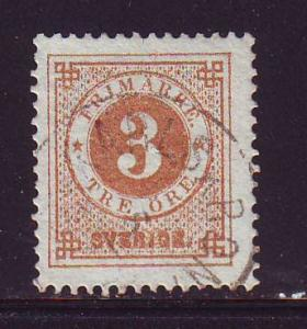 Sweden Sc 28 1877 3 ore ore numeral of value stamp used