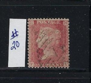 GREAT BRITAIN #20 1856-58 1P (ROSE RED)  PERF 14- LARGE CROWN -WHITE PAPER-USED