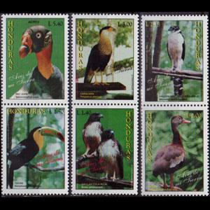 HONDURAS 1997 - Scott# 383a-6a Bird Strips Set of 6 NH
