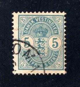 Danish West Indies #22,  F/VF,  Used,   CV $25.00 ....1630019