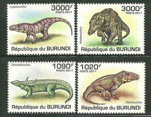 Burundi MNH 907-10 Prehistoric Crocodiles 2011 SCV 13.50