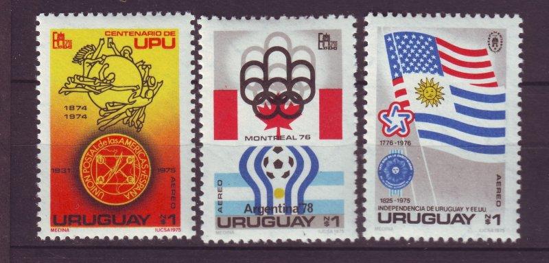 J23990 JLstamps 1975 uruguay set mnh #c416-8 upu