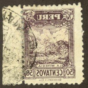 PERU 1931-32 50c MINING Pictorial REVERSE PRINTING Sc 298 Var. Used Crease