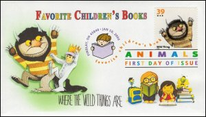 A0-3991-1, 2006, Favorite Children's Book Animals, FDC, DCP, SC 3990, Wild Thing