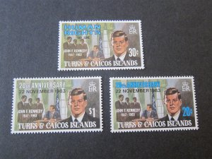 Turks & Caicos Islands Sc 603-4,715 John F Kennedy set MNH