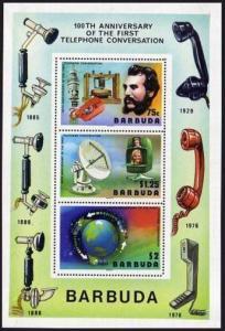 Barbuda 260-262,262a sheet,MNH. 1977.Alexander Graham Bell,Satellites,Globe.