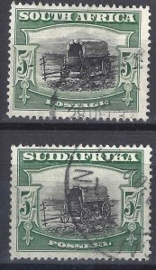South Africa 1927 SC 31a,31b Used SCV $80.00 Pair
