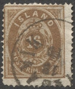 ICELAND 1876  Sc 12 16a  Used F, partial Wmk and cancel, cv $65
