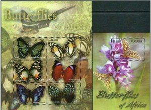 Malawi 2003 butterflies insects klb+s/s MNH
