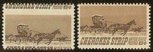 1360 - 6c Huge Misperf Error / EFO Change of Design Cherokee Strip Mint NH