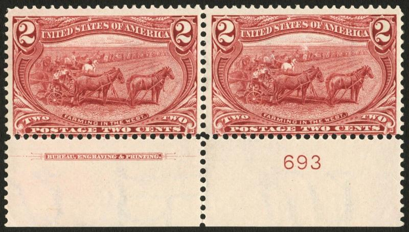 #286 2c Copper Red 1898 Trans Mississippi Imprint & Plate #693 Pair *MNH*