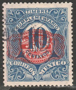 MEXICO 597, 60¢ ON 10¢ BARRIL SURCHARGE. USED. VF. (1348)
