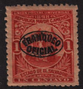 El Salvador O129 Official Usage Postage O/P 1898