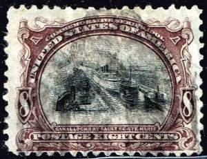 US STAMP #298 1901 8¢ Pan-American Exposition: Canal Locks USED