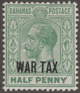Bahamas stamp, Scott#MR-6,  mint, hinged,  Half penny, green, B-19