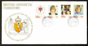 BRITISH ANTARCTIC TERRITORY 1982 Princess Diana Birthday Set FDC Sc 92-95
