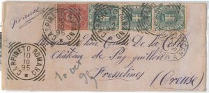 54834 - REGNO: UMBERTO I - STORIA POSTALE :  BUSTA a FRANCIA 1895 - 25 Cent.
