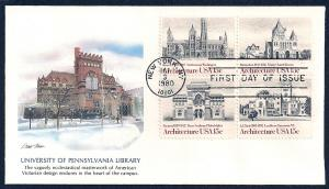 UNITED STATES FDC 15¢ Architecture BLK 1980 Fleetwood