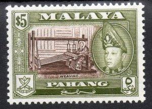 PAHANG MALAYSIA 1953-62  Sultan Abu Bakar $5 Brown & Olive SG 86b MINT