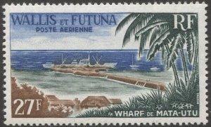 WALLIS AND FUTUNA 1965 Sc C21  MNH 27f  VF Ship Wharf / Palm Trees