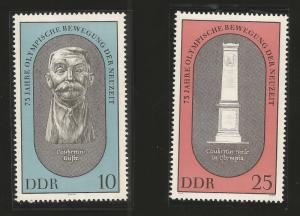 J) 1969 GERMANY, 75 YEARS OF OLYMPIC MOVEMENT OF THE NEW ERA, SET OF 2, MNH