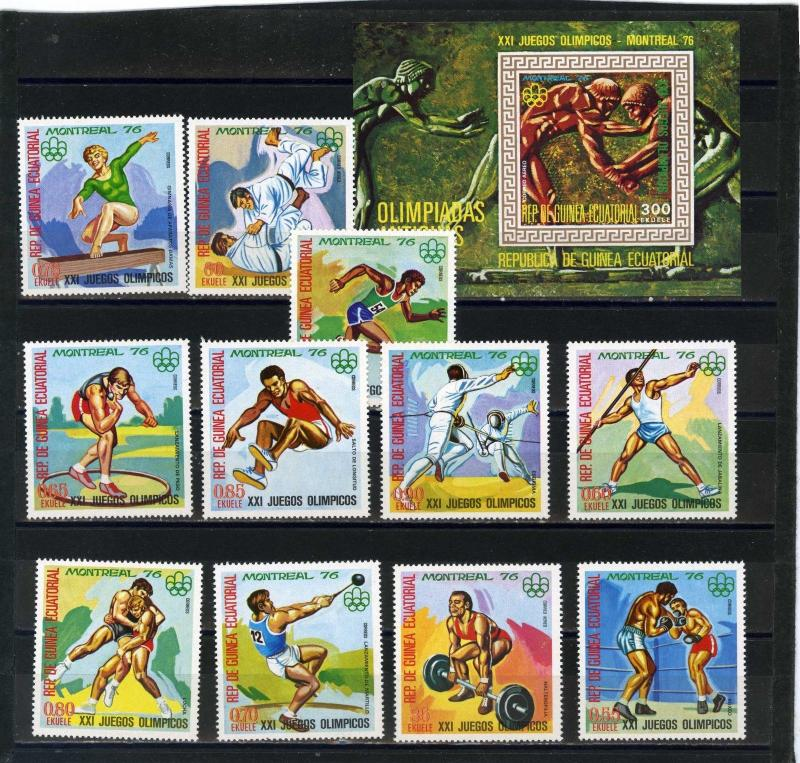 EQUATORIAL GUINEA 1976 OLYMPIC GAMES MONTREAL SET OF 11 STAMPS PERF.& S/S MNH