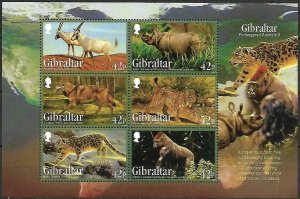 Gibraltar MNH S/S 1510a Endangered Animals 2012
